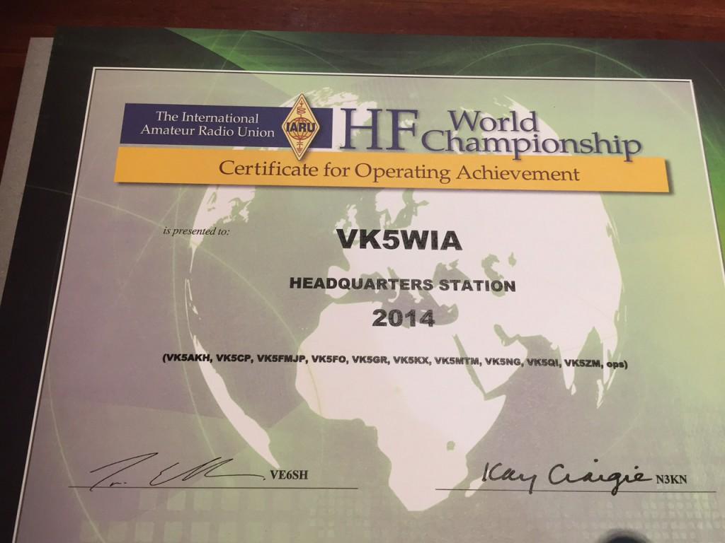 IARU Championships Certificate 2014